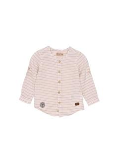 Silversun Kids Erkek Bebek Çizgili Koları Düğme Detalı Uzun Kollu Gömlek Gc 115326
